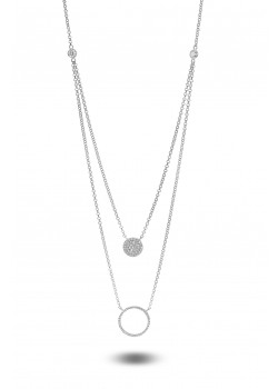 silver necklace, double chain, round and circle with zirconia