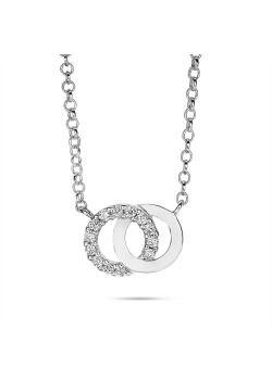 Halsketting in zilver, 2 cirkels, wit