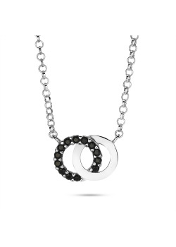 Halsketting in zilver, 2 cirkels, zwart