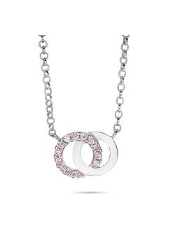Halsketting in zilver, 2 cirkels, roze
