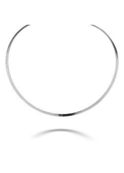 Halsketting in zilver, platte ketting