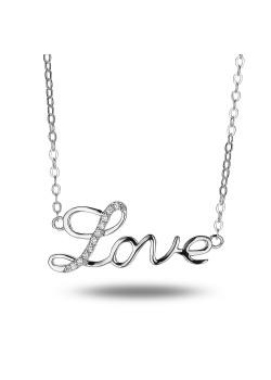 Halsketting in zilver, 'love' met zirkonia