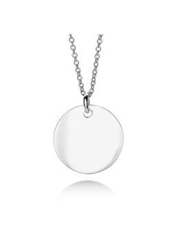 Halsketting in zilver, ronde hanger