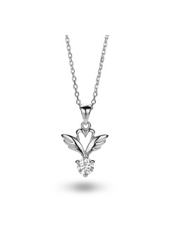 silver necklace, wings
