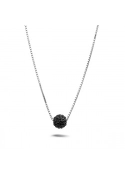 Silver necklace, 7 mm ball with black crystals