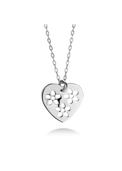 Silver necklace, heart