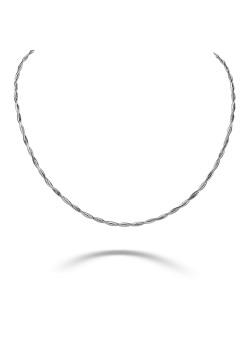 Gevlochten halsketting in zilver