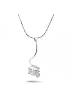 Halsketting in zilver, hangende parel en 1 zirkonia