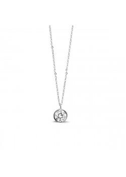 Collier en argent, pendentif avec un zircon de 8mm serti clos.