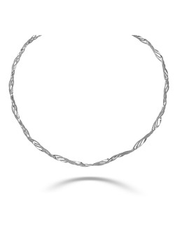 Silver necklace, braided