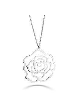 Halsketting in zilver, een roos