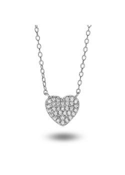 Halsketting in zilver met een zirkonen hartje