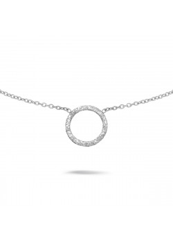 Silver necklace, hammered circle