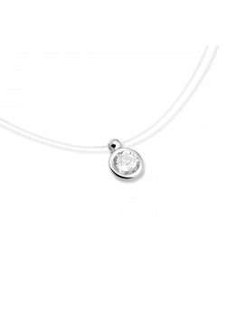 Silver necklace, one 6 mm zircon on nylon thread
