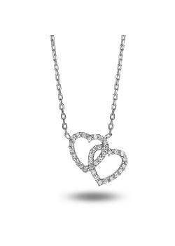 Silver necklace, 2 open hearts with zirconia