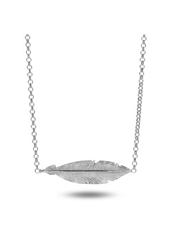 Silver necklace, 30 mm feather