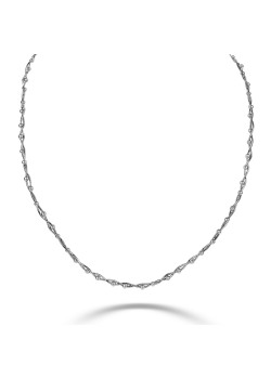 Gevlochten halsketting in zilver met bolletjes