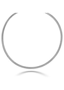 halsketting in zilver, gevlochten