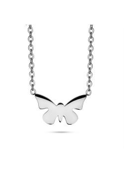 Halsketting in edelstaal, vlinder