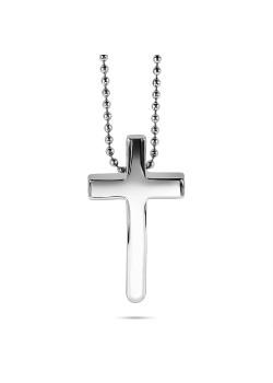 Halsketting in edelstaal, gebogen kruis op bolletjesketting
