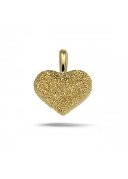 Hanger in 18kt  plaqué goud, gehamerd en blinkend hart