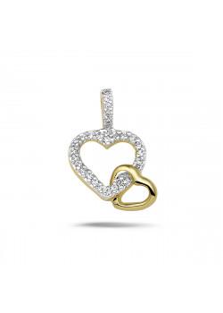 Hanger in 18kt plaqué goud, dubbel hart met zirkonia