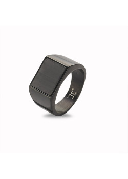 Stainless steel ring, black, mat, rectangle