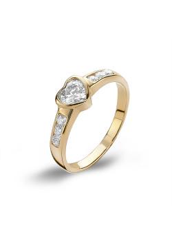 Ring in 18kt plaqué goud, hartje in zirconia, gezet met steentjes