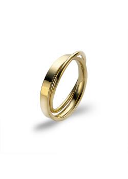 Ring in goudkleurig edelstaal, dubbele ring