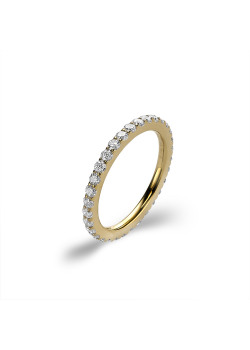 Ring in goudkleurig edelstaal, witte kristallen