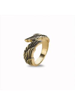Ring in goudkleurig edelstaal, 2 vleugels