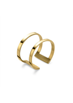 Ring in goudkleurig edelstaal, dubbele, open ring