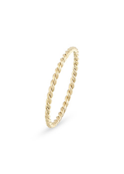 Thin, gold-coloured stainless steel ring, twisted, 1,5 mm