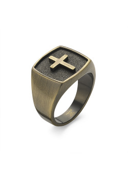 Copper-coloured stainless steel ring, seal ring with cross
