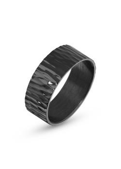 Ring in edelstaal, zwart, geblutst, 8 mm
