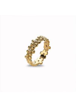 Ring in 18kt verguld zilver, bloemen, roze zirkonia steentjes