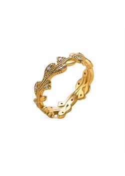 Ring in 18kt verguld zilver, tak met zirkonia steentjes