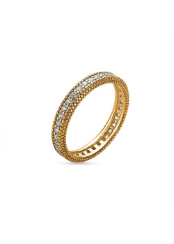 18ct gold plated silver ring, 1 row with zirconia