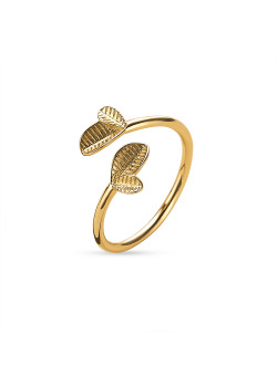 18ct gold plated silver ring, 2 small leafs