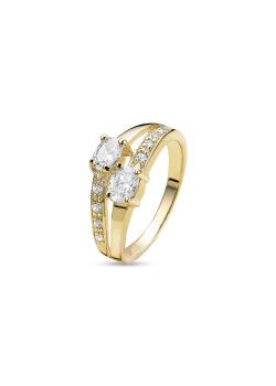 ring in 18kt plaqué goud, zirkonia