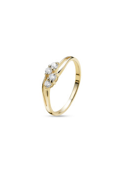 18ct gold plated ring, 4 zirconia