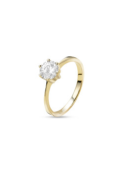 ring in 18kt plaqué goud, solitaire