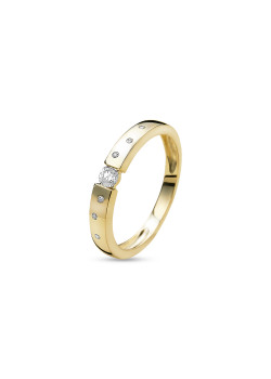 ring in 18kt plaqué goud, zirkonia