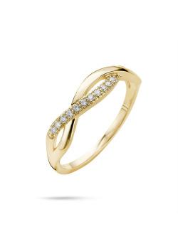 Ring in 18kt plaqué goud, zigzag in zirkonia