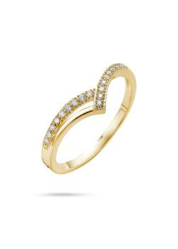 Ring in 18kt plaqué goud, punt met en zonder zirkonia