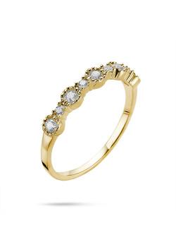 Ring in 18kt plaqué goud, rij met grote en kleine zirkonen