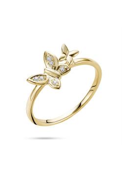 Ring in 18kt plaqué goud, 2 vlinders