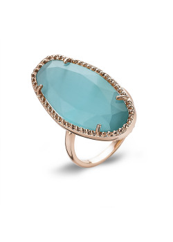 Bague haute fantaisie, rosé, pierre ovale, turquoise