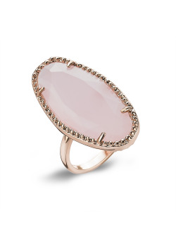 High fashion Ring, rosé, ovaal, roze steen