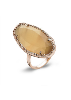 High fashion Ring, rosé, ovaal, cat's eye